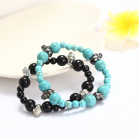 Link, Chain prong setting 26 7156 natural turquoise black tourmaline Skull Bracelet hand