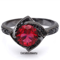 Cluster Rings European Women's 2015 Hot Sale Vintage Design Black Plated Solid Silver Rings Precious Superb Zircons AAA Stones Sterling Silver 925 Rings RSQD1080