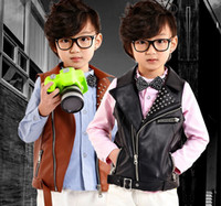 Wholesale 2014 Autumn Children s Leather Waistcoat Hot Sale High Quailty Korean Boy Vest Jacket Black Brown Colour Kids Outwear WD100