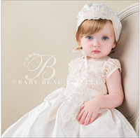 baby baptism gowns - Gorgeous Christening Dresses Litter Kids Infant Short Sleeves Kids Baptism Gown With Button Applique Custom Made