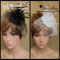 Fascinator Hats black hat - In Stock Cheap Girl Bridal Wedding Gauze Tulle Feathers Cocktail Party Hat Cap Hair Jewelry Black White