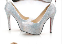 Wedding High Heel Round Toe 2014 Hot Selling Charming Sparking Beaded Crystal Wedding Shoes With Sequins Diamond Heel High Women Wedding Party bridal Shoes Cheap Online