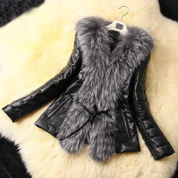 Wholesale Details about Fashion Women s Winter Warm Fur Collar Coat Leather Cotton Jacket Overcoat Parka