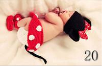 Girl Summer Crochet Hats Newborn Baby Crochet Sweater 2014 Minnie Bowknot Beret Cap+Skirt+Shoes Photography Props Toddler Costume Set Handmade Boutique 5sets K1008