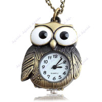 Wholesale women Retro Vintage Punk Steampunk Quartz Pocket Watch Chain Owl Pattern Necklace Bronze SV003420