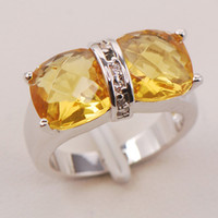 Cheap Brand Christmas New Citrine Crystal 925 Sterling Silver Ring F808 Size 6 7 8 9 10