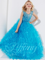 Wholesale Holiday Party flower girls pageant dresses Beads Square Pink beading sequins Wedding SKYBLUE little kids Pleat ball gowns custom made
