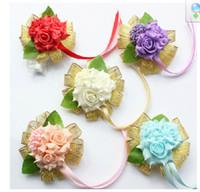 Silk party supplies - Romantic Wedding Bridesmaid Wrist Corsages Artificial Rose Wedding Accessories Bouquet Party Supplies Bridal Flower Wrist Headdress Cheap