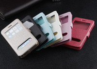 For Apple iPhone hard cover book - Open Window Silk Caller ID Display Leather Wallet Book Pouch Hard case For iphone Air G TH iphone6 inch Stand holster skin Cover