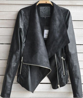 Wholesale Details about Fashion Vintage Womens Slim Biker Motorcycle PU Soft Leather Zipper Jacket Coat
