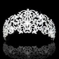 Rhinestone/Crystal big hair flowers - Gorgeous Rhinestones Crystals Bridal Crowns Tiara Wedding Hair Accessories High Quanlity Royal Style Big Bride Tiara Crown In Stock
