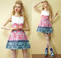 Women Natural OME European style women dress Fashion print woman dresses new spring summer women slim vinage dress evening dress women clothes