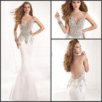 Reference Images Scoop Elastic Satin Fashion 2014 Tarik Ediz Long Prom Dresses Ivory Scoop Mermaid Satin Beaded Evening Formal Gown Vestidos De Festa Longo 8283