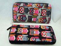 Wholesale Fashion Owl Canvas Wallet Long Design Card Holder Coin Purse
