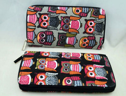 Wholesale Fashion Owl Canvas Wallet Long Design Card Holder Coin Purse 6pcs lot Free shipping