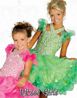 Wholesale Ruffles Straps Tutu Girl s Pageant Dresses Lime Green Halter Beaded Layers Organza Backless Cupcake Mini Princess Gowns Ritzee Girls B522