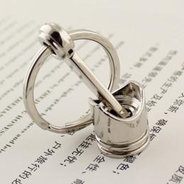 Wholesale 10pcs Engine Piston Keychain Polished Chrome Creative Hot Auto Parts Model Key Chain Ring Key Fob Keyring