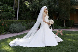 Wholesale Cathedral Tier Veils - 2014 Ivory Cathedral Chapel Train Wedding Bridal Veils High Quality 2 Tiers 3 Meters Long 1.45 Meters Width With Comb