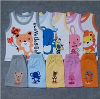 Girl Spring / Autumn Sleeveless Wholesale-Free shipping! 2013 summer baby cartoon clothing set vest+shorts baby girl and boy summer clothes 5 color!