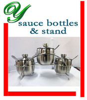 Wholesale full set quality stainless steel pc Condiment seasoning salt pepper boxes with scoop lid stand spice jar sauce bottle fondue BBQ gadgets
