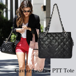 Wholesale-Classic Women's Black PTT Bag Petit Timeless Tote Bag Caviar Leather with Silver Hardware Medium Size Free Shipping