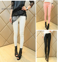 Lycra Mid Fashion 2014 fashion black women Leggings pants spring summer print lace slim casual trousers female sexy skinny pants women clothing