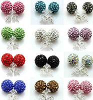 Wholesale 925 Silver mm Shamballa Crystal disco Ball Stud Earrings Swarovski
