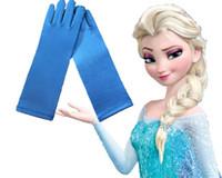 Wholesale Girls frozen elsa gloves princess kids gloves for costume long Blue Satin Mittens frozen cosplay children long blue gloves J082903