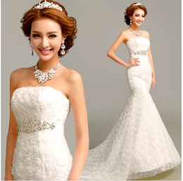 Hot 2015 new white fashionable mermaid strapless beaded court train wedding dress with flowers bridal gowns