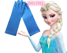 Wholesale DHL Girls frozen elsa gloves princess kids gloves for costume long Blue Satin Mittens frozen cosplay children long blue gloves J082903