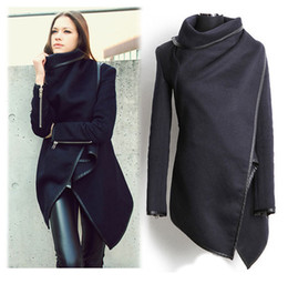 Wholesale Women Trench fashion Long sleeve Turtleneck cotton autumn winter coat Black slim casual wind coat asymmetric length outwear