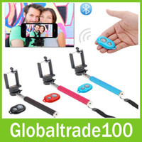 Wholesale Selfie Rotary Extendable Handheld Camera Tripod Mobile Phone Monopod Wireless Bluetooth Remote Control For S3 S4 S5 S S Smarthone Free DHL