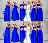 Royal Blue Sweetheart Ruffle Long Bridesmaid Dresses 2014 Ba...