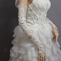 Wholesale Fashion Sexy beaded sparkling rhinestones lace long fingerless bridal wedding party prom gloves