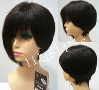 Wholesale Discount Short Layered Natural Black Dark brown Remy Human Hair Wig