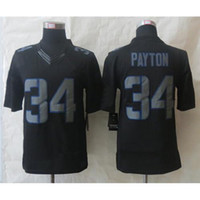 Football Men Short Football Jerseys #34 Walter Payton Lights Out Black Jerseys Mens Outdoor Sports Shirts High Quality Cheap Stitched Football Uniforms