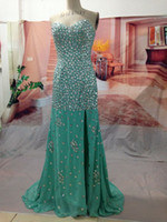 Real Photos Sweetheart Chiffon 2014 Make pictures bead Dazzling Sweetheart Sleeveless Crystal Beading Mermaid Sweep Train Prom Gowns Evening Dresses