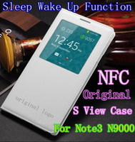 For Samsung PU Leather White IC Chip For Samsung Galaxy Note 3 III Note3 N9000 N9005 Original S View Sleep Wake Up Function Flip Battery Housing Case