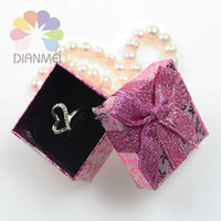 Wholesale x5x3cm Fashion Purple Rose Paper Jewelry Earrings Ring Set Box For Gift Packaging