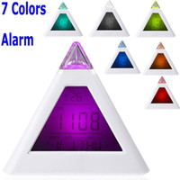 Mechanical 103 mm Triangle Wholesale - Single 7 LED Color Changing Pyramid Digital LCD Alarm Clock Thermometer C F Desktop Table Clocks Despertador Weather Station