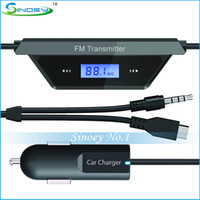 Wholesale 50PCS Wireless FM Transmitter For Iphone Ipod smartphone MP3 MP4 GPS Transmit portable music player to car stereo FM Transmitter Player