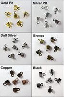 Charms Jewelry Findings Wadoy 300Pcs 4x9mm Fold Over End Cord Crimp Bead Caps For Leather Cord Jewelry Making Craft DIY AE00506