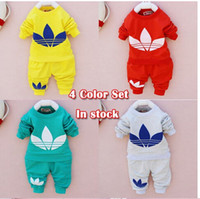 Wholesale Autumn New cotton Toddlers children baby boys girls autumn spring clothing set suit Pattern baby shirt pants sets