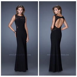 Wholesale Sexy Black Lace Applique Chiffon Prom Dresses Bateau Capped Sleeve Formal Evening Party Dresses Floor Length Mermaid Prom Party Gowns
