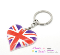 Wholesale UK Flag Union Jack Heart Key Chains Key Rings cmx4 cm quot x1 quot sold per packet of B17674
