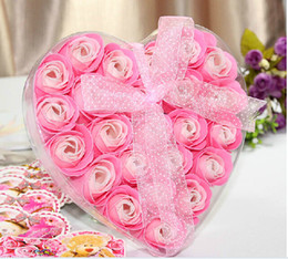 Wholesale one box Washing Cleaning Bath Body Heart Rose Flower Paper Petals Soap Gift Organtic Wedding Gift Favor Mulit Color Soap