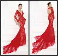 Reference Images V-Neck Lace Recommend 2015 Red Lace Party Evening Dress Sexy Deep V Neck Long Sleeve Backless Big Train Lace Evening Gown Prom Dresses Tarik Ediz 92502