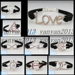 Wholesale new Infinity love anchor rudder Tree of Life Harry Potter double peach heart bracelet nine kinds of styles you can choose Friendship Gift