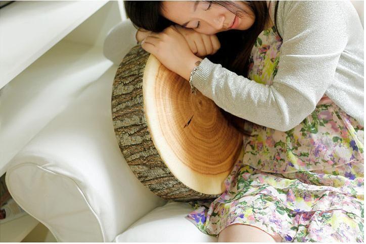 Wood Shaped Cushion Novelty Round Pillow Mat Creative Home