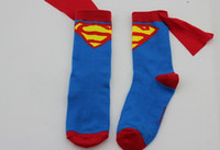 Wholesale Children Cosplay Cape Socks Superman Cotton Socks Batman Cape Knee High Socks Kids Socks Super Hero Character Cool Boys Girls Socks